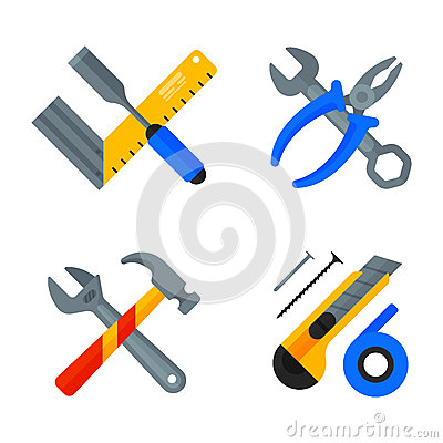 Home repair tools icons working construction equipment set and service worker macter box flat style isolated on white Vector Illustration