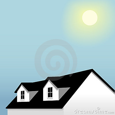 Home roof dormers blue sky background