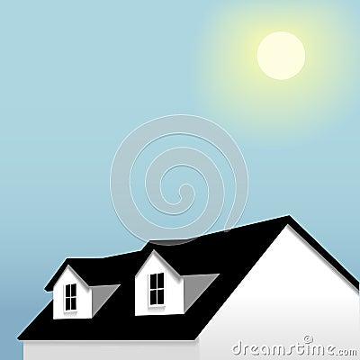 Home roof dormers blue sky background
