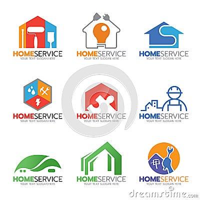 Free Home Service And Repair Logo  Illustration Set Design Stock Image - 78316151