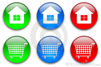 Home and shopping cart buttons set