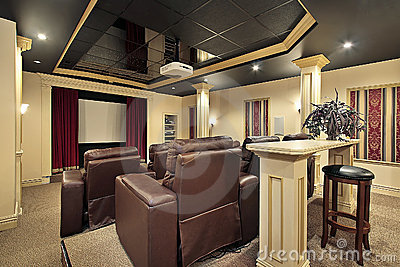 Home theater with colums