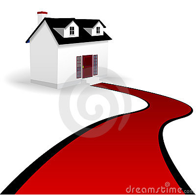 Free Home With Red Carpet Driveway To The House Stock Photo - 6680680