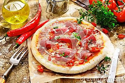 Homebaked pepperoni pizza
