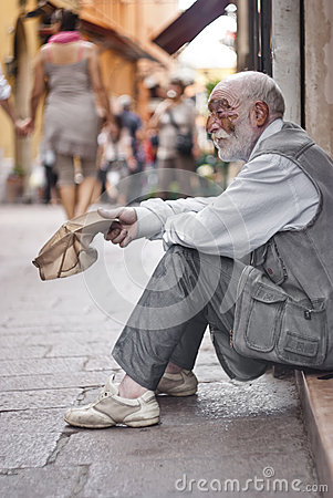 Homeless asking for help Editorial Photography