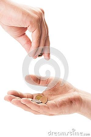 Homeless beggar receiving coins  Homeless beggar...
