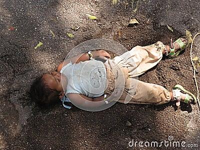 Homeless Child Sleeping Editorial Image
