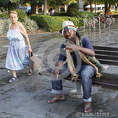 Free Homeless Life Downtown Mallorca In Spain Royalty Free Stock Image - 108859156