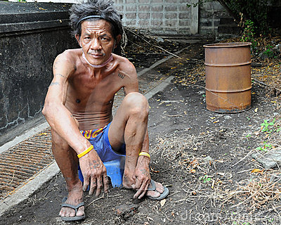 Homeless Man in Bangkok Editorial Photography