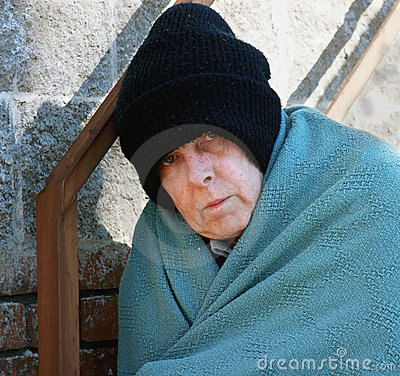 Homeless man in the cold
