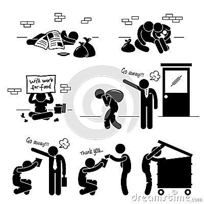 Homeless Man Family Beggar Jobless