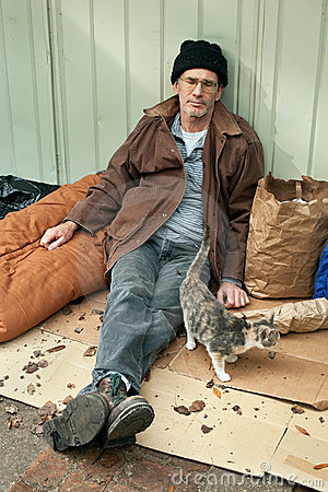 Homeless Man and Friendly Stray Cat