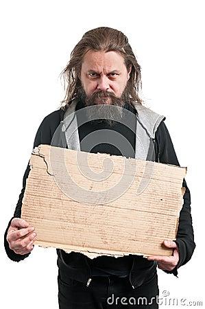 Free Homeless Man Holding Cardboard Sign Royalty Free Stock Photos - 31645598
