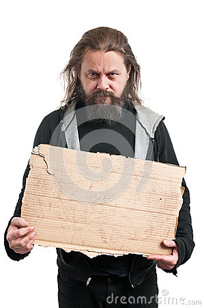 Homeless Man Holding Cardboard Sign
