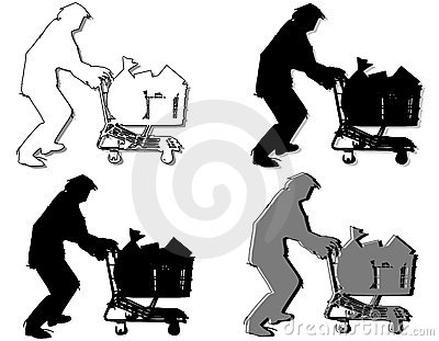 Homeless Man Pushing Shopping Cart