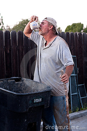 Homeless man trash picking