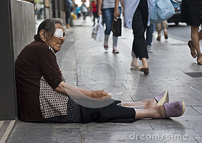 Homeless old woman beggar Editorial Image