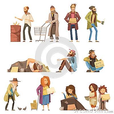 Homeless People Set Vector Illustration