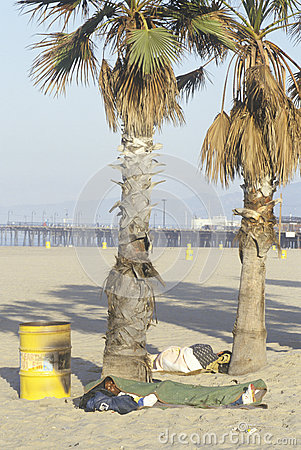 Homeless people sleeping at Venice Beach, Editorial Photo
