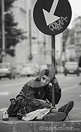 Free Homeless Sad Man On Bucharest Streets Stock Photos - 108636613