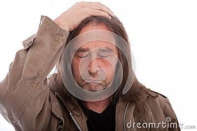 Homeless unhappy man
