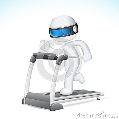 Homem 3d no vetor que funciona na escada rolante