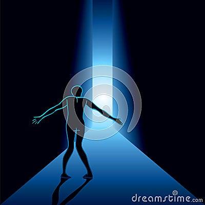 Homem assustado no corredor