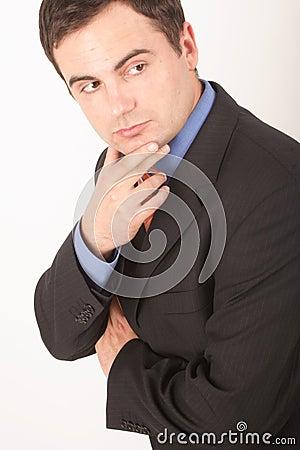 Download Homem Branco De Escuta Do Active No Terno Fotografia Stock