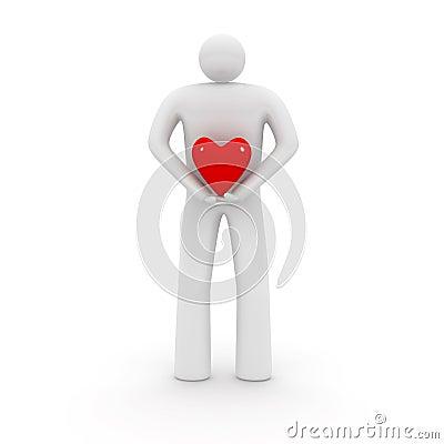 Homem com forma do coração.