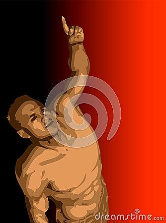 Homem com o braço levantado e apontar do dedo.
