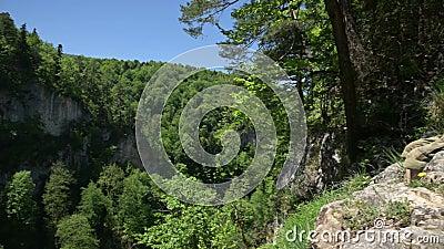 Homem com tronco nu sentado no topo do penhasco, olha para baixo Verão, dia ensolarado, panorâmica video estoque