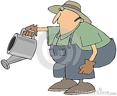 Homem com uma lata molhando