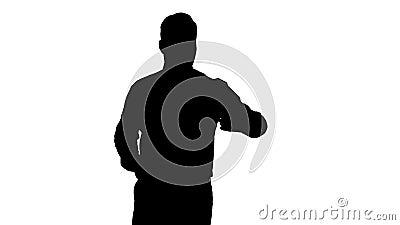 Homem consider?vel da silhueta que toma um selfie Selfie r?pido vídeos de arquivo
