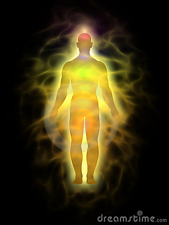 Homem - corpo da energia - aura