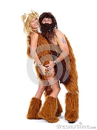 Homem de caverna e mulher da caverna