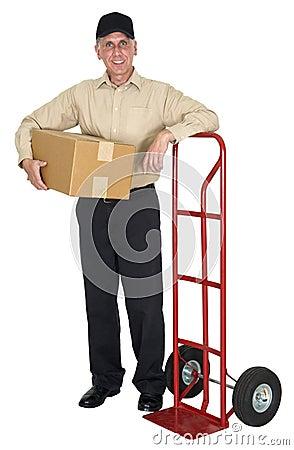 Homem de entrega, movendo-se, frete, transporte, pacote