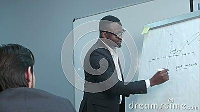 Homem de negócios afro-americano que faz a apresentação de um plano de negócios no flipchart filme