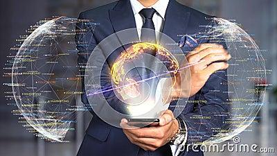 Homem de negócios Hologram Concept Tech - IFAS 2020 video estoque