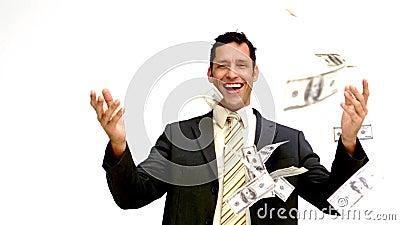 Homem de negócios que joga alegremente seu dinheiro filme