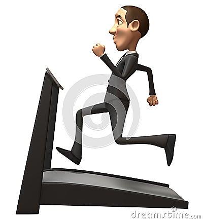 Homem de negócio em uma escada rolante