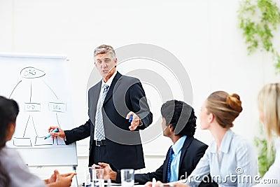 Homem de negócio que dá o treinamento a seus colegas