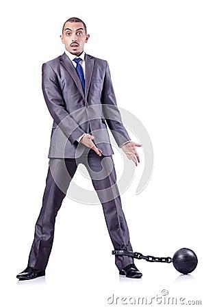 Homem de negócios com grilhões