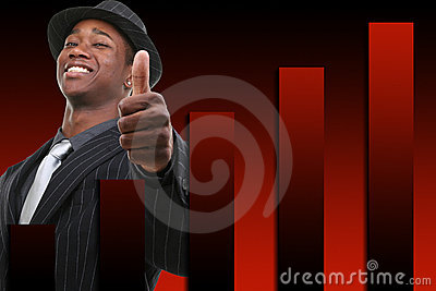 Homem de negócios com polegar acima sobre o fundo de aumentação do gráfico