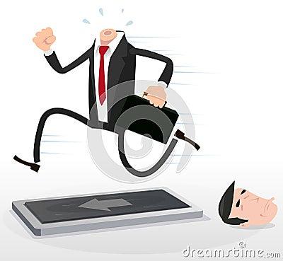 Homem de negócios dos desenhos animados em uma escada rolante