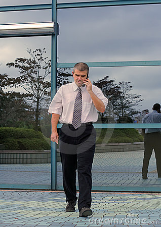 Homem de negócios que usa o telefone móvel