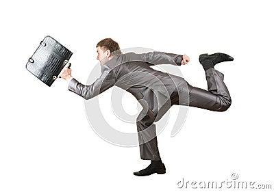 Homem de negócios Running com pasta