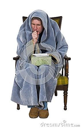 Homem doente com tosse, frio, gripe isolada