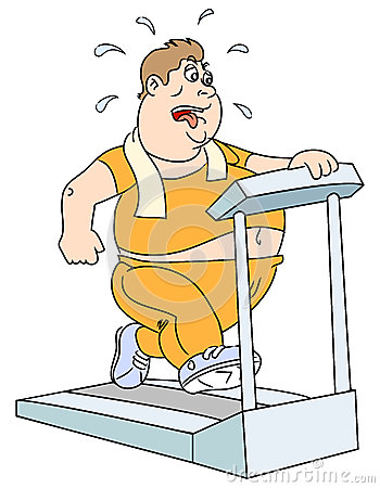 Homem e escada rolante gordos