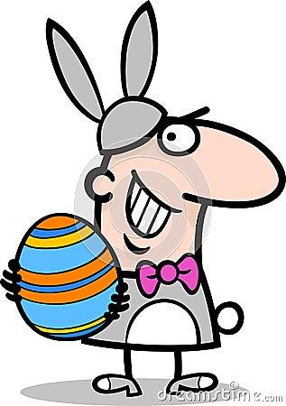 Homem em desenhos animados do traje do coelhinho da Páscoa