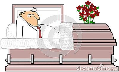 Homem em um caixão